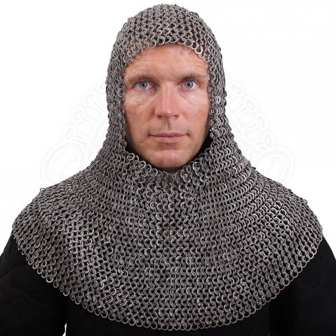Chainmail Coif, round riveted rings with round rivets, combined with solid flat rings