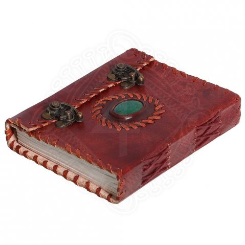 Leather Journal with Stone and Metal Locking