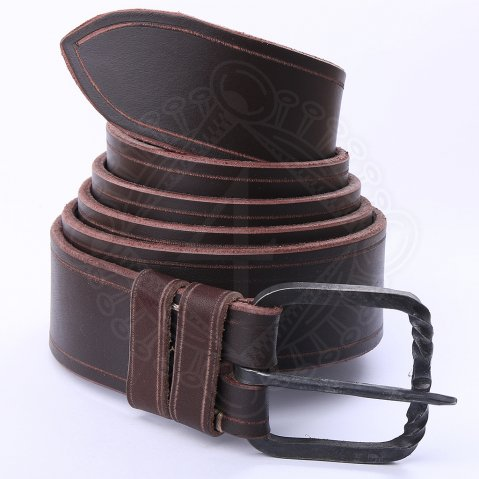Leather belt with a hand-hammered wrought iron buckle