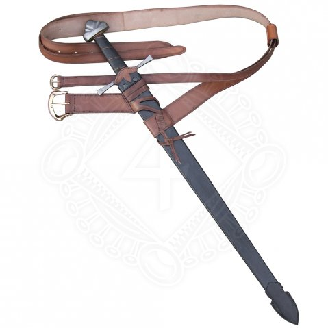 High Gothic sword scabbard with two belts