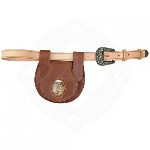 Leather belt pouch with a stone including belt