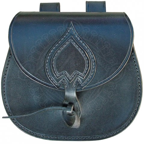 Decorated belt pouch made of very high quality leather