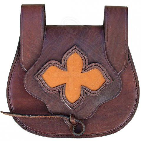 Leather bag decorated with a flower
