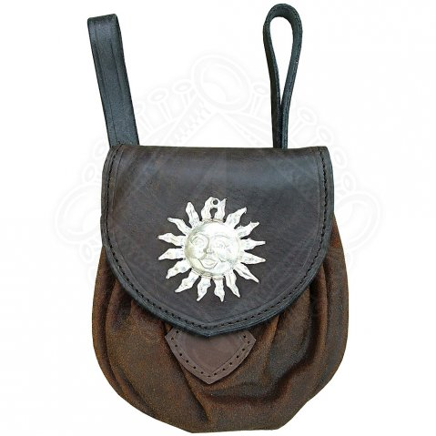 Leather belt pouch with the Celtic sun