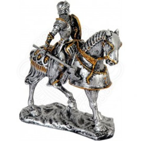 Statuette Knight on the horse with axe and shield