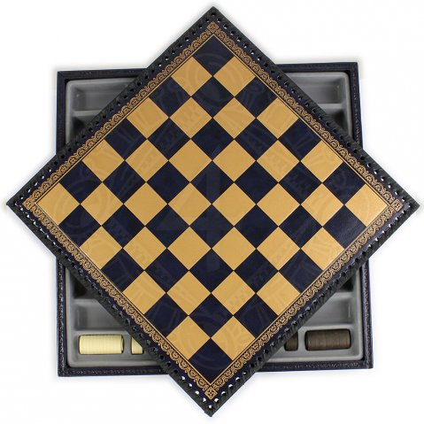 Chessboard, blue and gold 13""