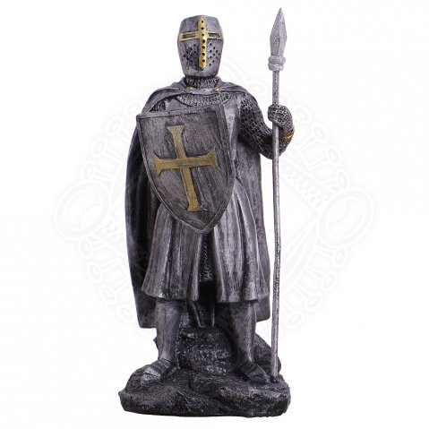 Figure crusader with spear and shield 18cm