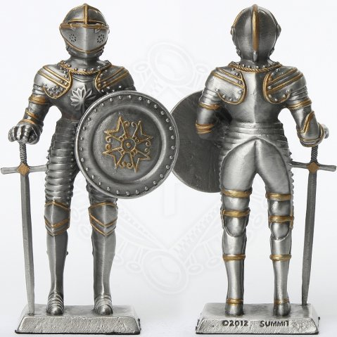 Tin knight statue in Armor with sword and shield