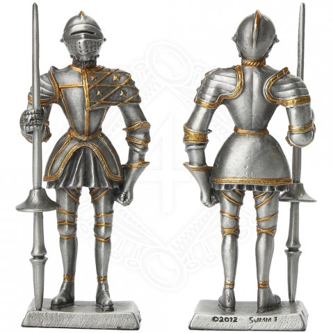 Tin knight statue in tournament armor with sword