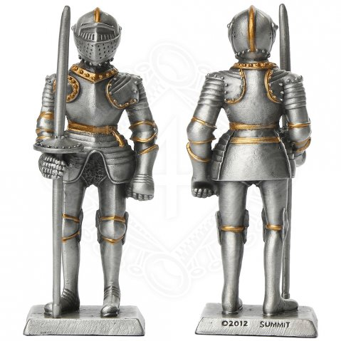 Tin knight statue in armor with short lance