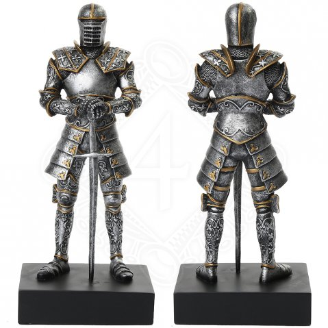 Figure of a knight in chain mail armor and steel full-suit armor