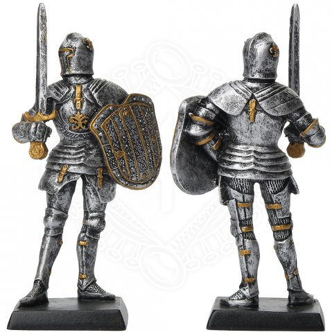 Figure of an armored knight with sword and shield