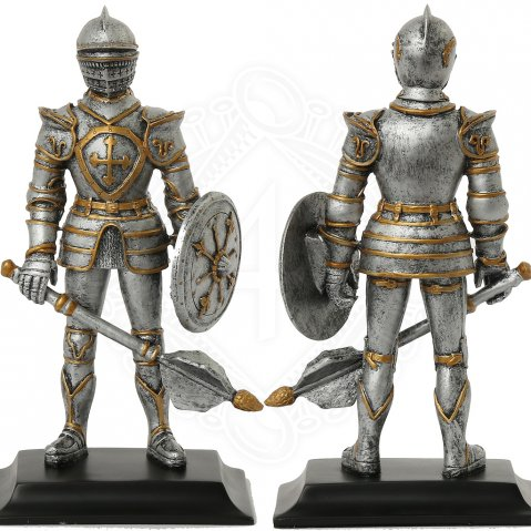 Medieval knight with mace and shield, figure