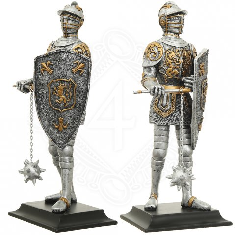 Statuette armored Knight with flail and shield, 33 cm