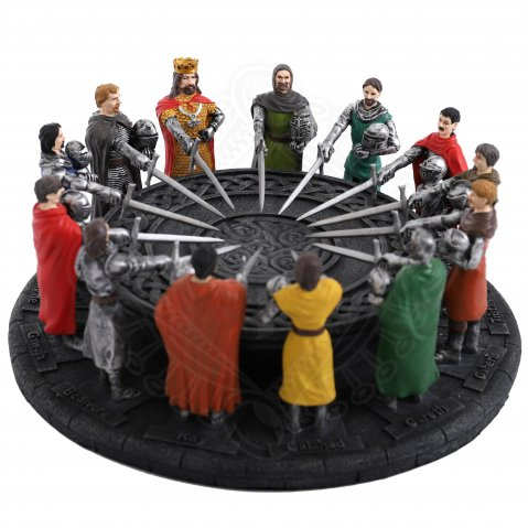 King Arthur's Round table with 12 knights, sculpture 29x12cm