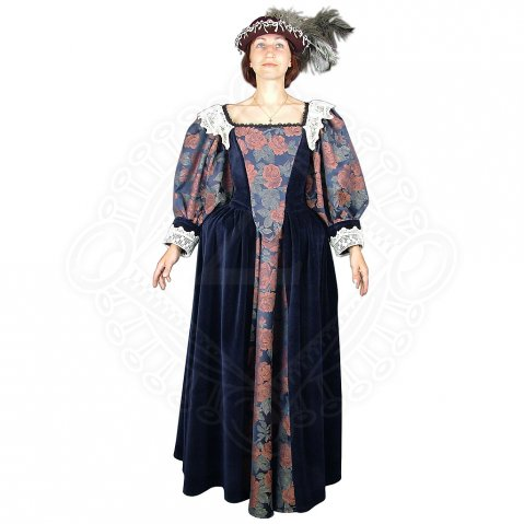 Baroque dress with a feather hat