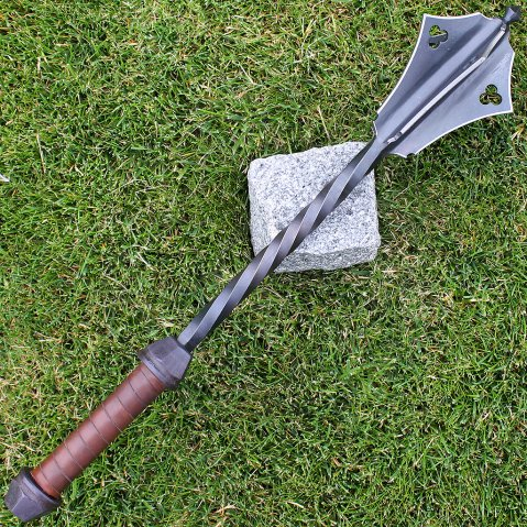 All-steel mace with 6 blades, blackened