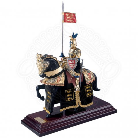 "Mounted Knight ""Black Prince"" with dark green caparison"