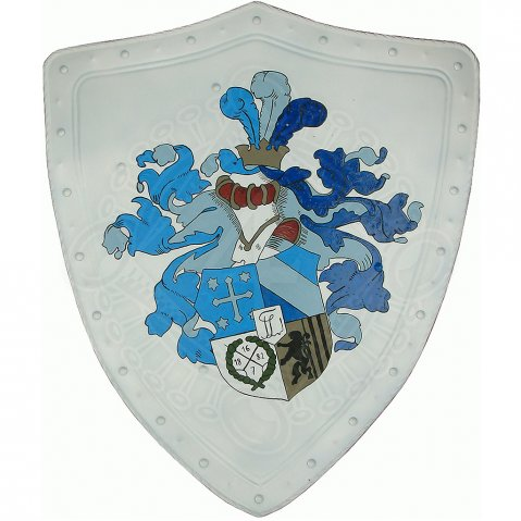 Shield with coat of arms and jousting helmet