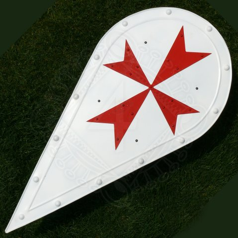 Almond-shaped shield with Maltese cross