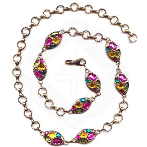 Chain belt with colourful stones