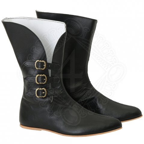 Leather boots with brass buckles