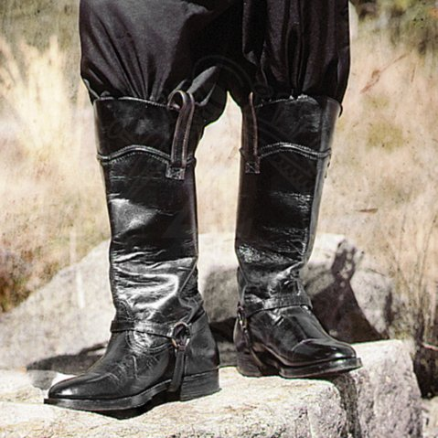 Western boots with spurs straps