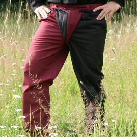Lansquenet  trousers red/black, long high-middle-ages trousers