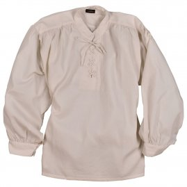 Structure shirt with stand-up collar and lacing