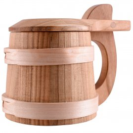 Wooden Beer Mug with Lid