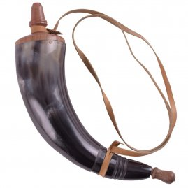 Simple Powder Horn with leather straps
