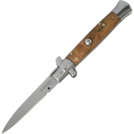 Stiletto flick knife with olive handle
