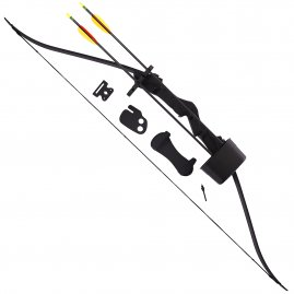 Recurve bow with three arrows and a bracer