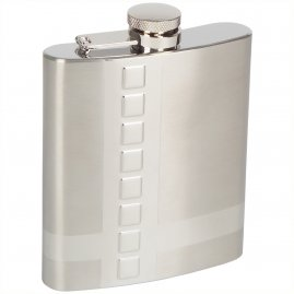 Hip flask with plastic squares