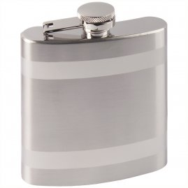 Hip flask with matte stripes