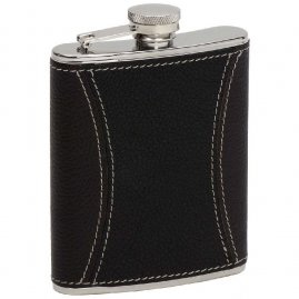 Hip flask with sewed leather