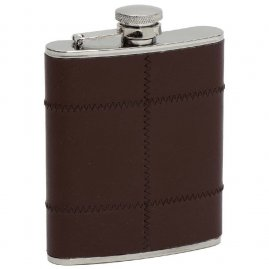 Hip flask with brown leather