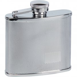 Hip flask with a rectangle for engraving