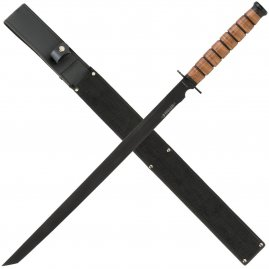 Ninja sword with leather handle