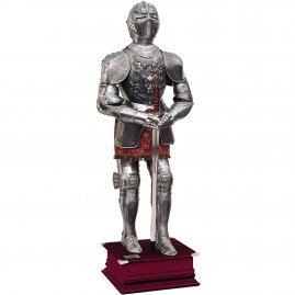 Magnificent late medieval armor with embossed embellishments