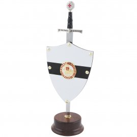 Wooden stand for a mini sword with shield