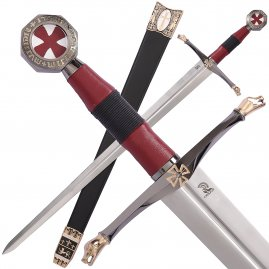 Crusader Sword Knights Of Heaven with black guard and pommel