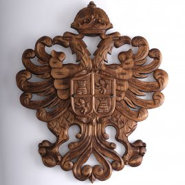 Hand-carved heraldic blazon w. castle and lion 78x67cm