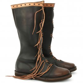 High lace-up leather boots Messenger