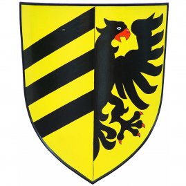 Shield black bird of prey and stripes
