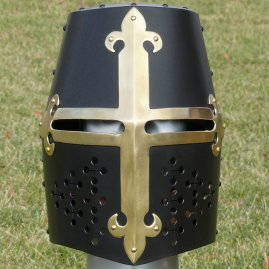 Blackened great helm with brass cross
