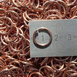 Chain mail rings, 1 kg-packet, not riveted, rusting