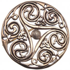 Celtic brooch with triskele motif, 48 mm