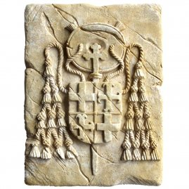 Cardinal Coat of Arms made of stone 20x15cm