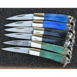 Mini-Pocketknife box, 6 Mini-Pocketknives in wooden box